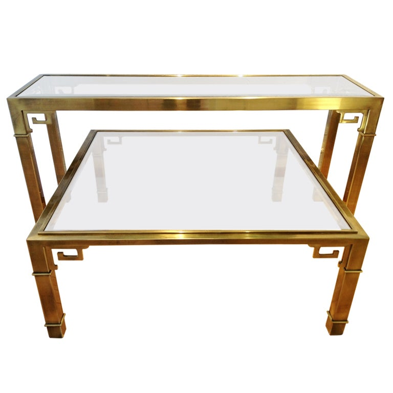 Mastercraft Greek Key Console Table And Coffee Table At 1stdibs