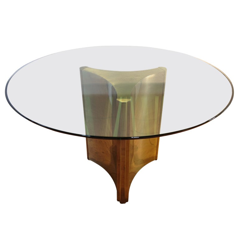 Mastercraft triangulate pedestal brass base dining table for Dining room table pedestal bases