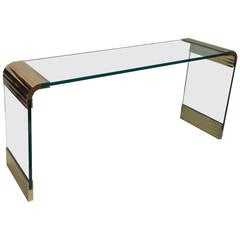 Scalloped Brass Console Table by Leon Rosen for Pace Collection