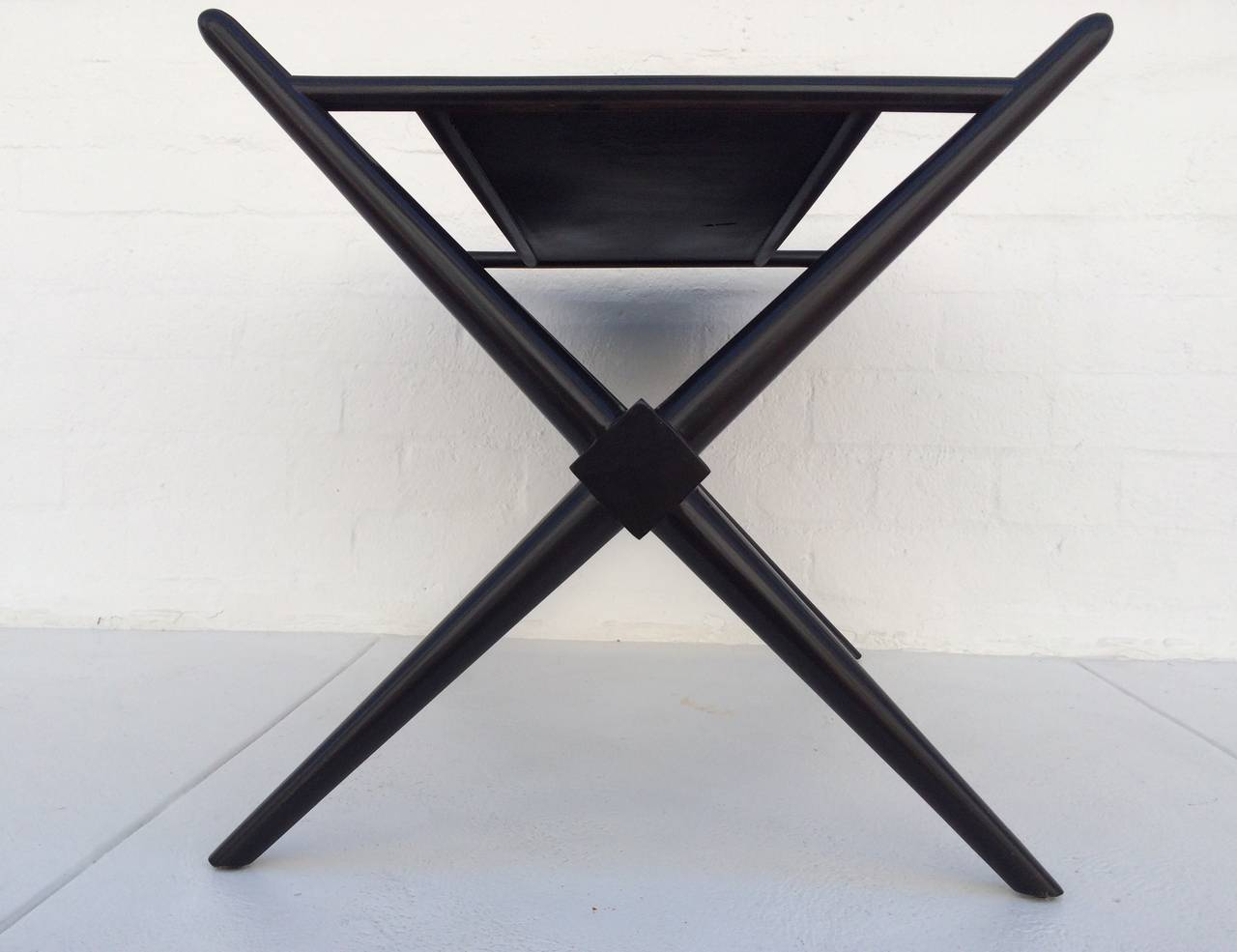 Black Lacquered Walnut Magazine Table by T.H. Robsjohn-Gibbings 5