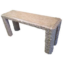 Wonderful Travertine Console Table By Maitland Smith