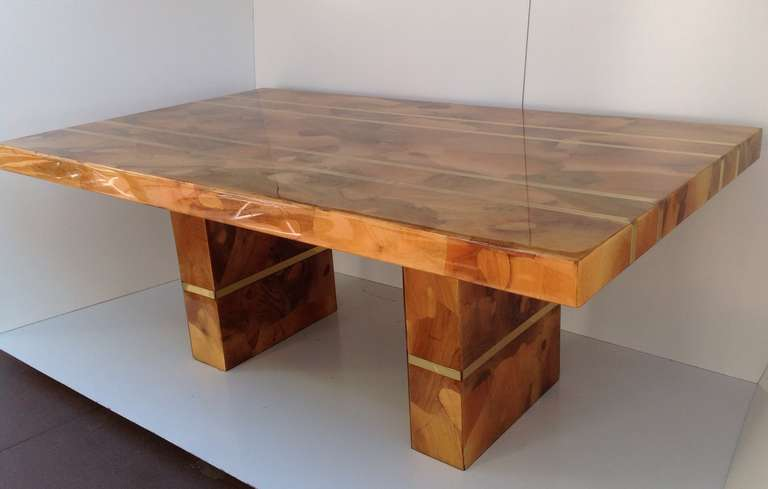 Spectacular Custom Made Oyster Burl Wood Dining Table Circa 1970s For