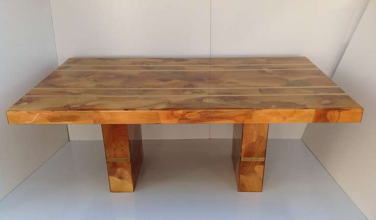 spectacular custom made oyster burl wood dining table