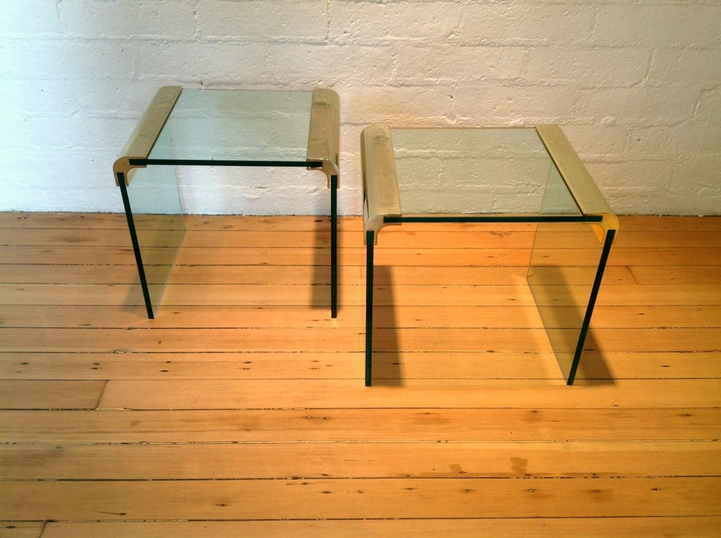 American Brass And Glass Side Tables By Pace Collection For Sale