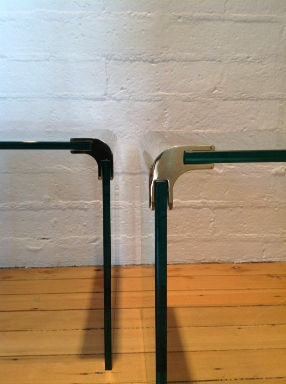 Late 20th Century Brass And Glass Side Tables By Pace Collection For Sale