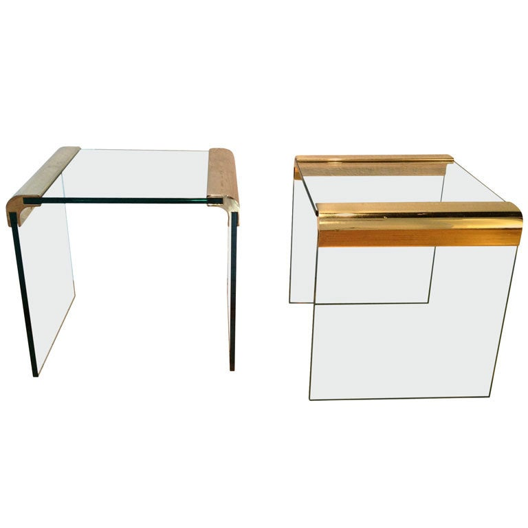Brass And Glass Side Tables By Pace Collection