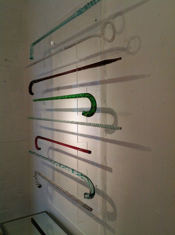Vintage Glass Cane Collection With Lucite Wall Display at ...