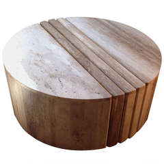 Sculptural Travertine Cocktail/Coffee Table