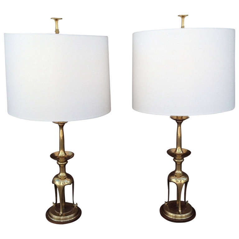 Pair of Solid Brass with Oak Table Lamps by Chapman