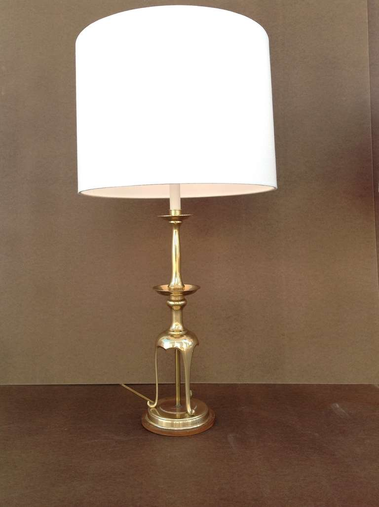 pair of solid brass with oak table lamps by chapman for. Black Bedroom Furniture Sets. Home Design Ideas