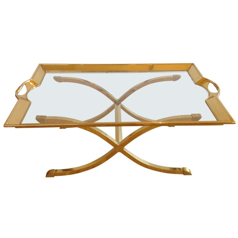 Large Polished Brass Cocktail/Coffee Table By La Barge For