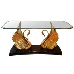 A spectacular Italian Brass Swans Console Table