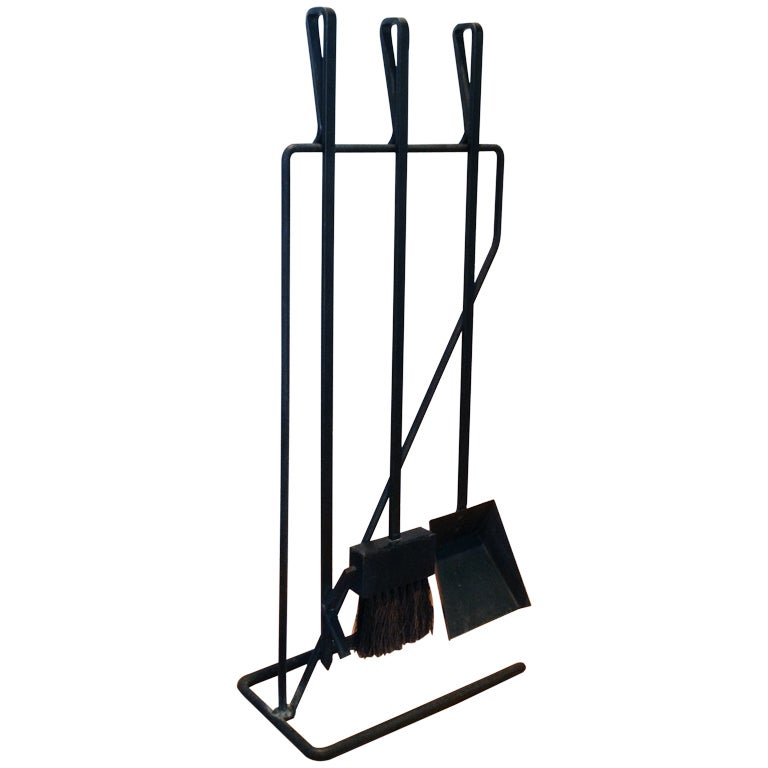 Wrought Iron Fireplace Tool Set In The Style Of Geroge Nelson At 1stdibs