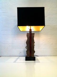 Rare Signed Del Campo Sculptural Bronze Table Lamp