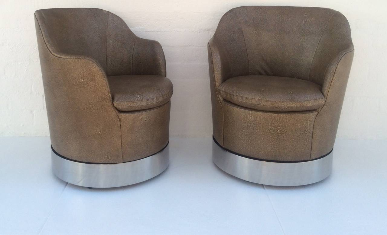 Mid-Century Modern Swivel Lounge Chairs Designed by Phillip Enfield For Sale