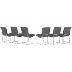 Set of Polished Chrome Base Dining Chairs by Milo Baughman for Thayer Coggin