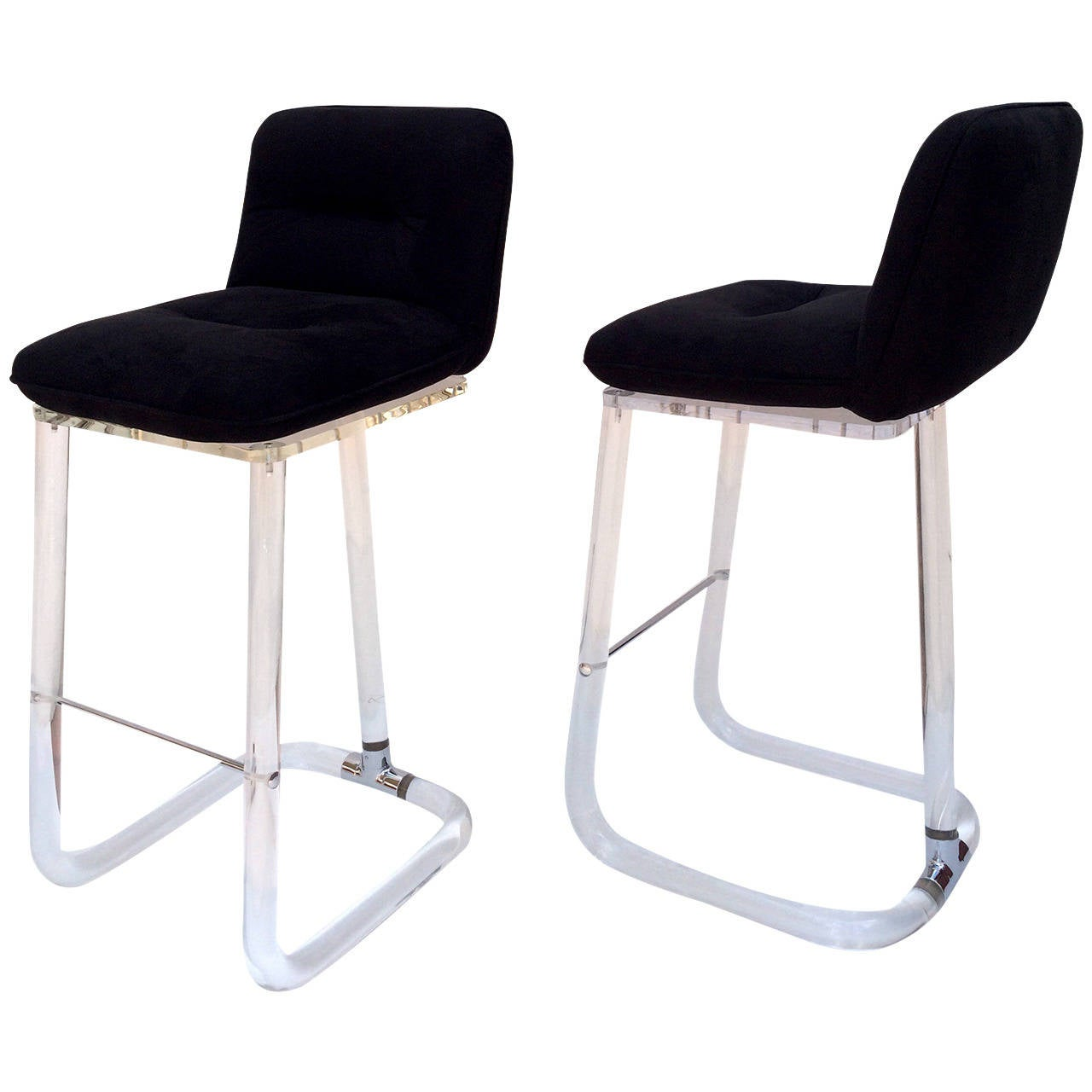 Acrylic Barstool Pair Of Signed Lion In Frost Acrylic Bar Stools At 1stdibs