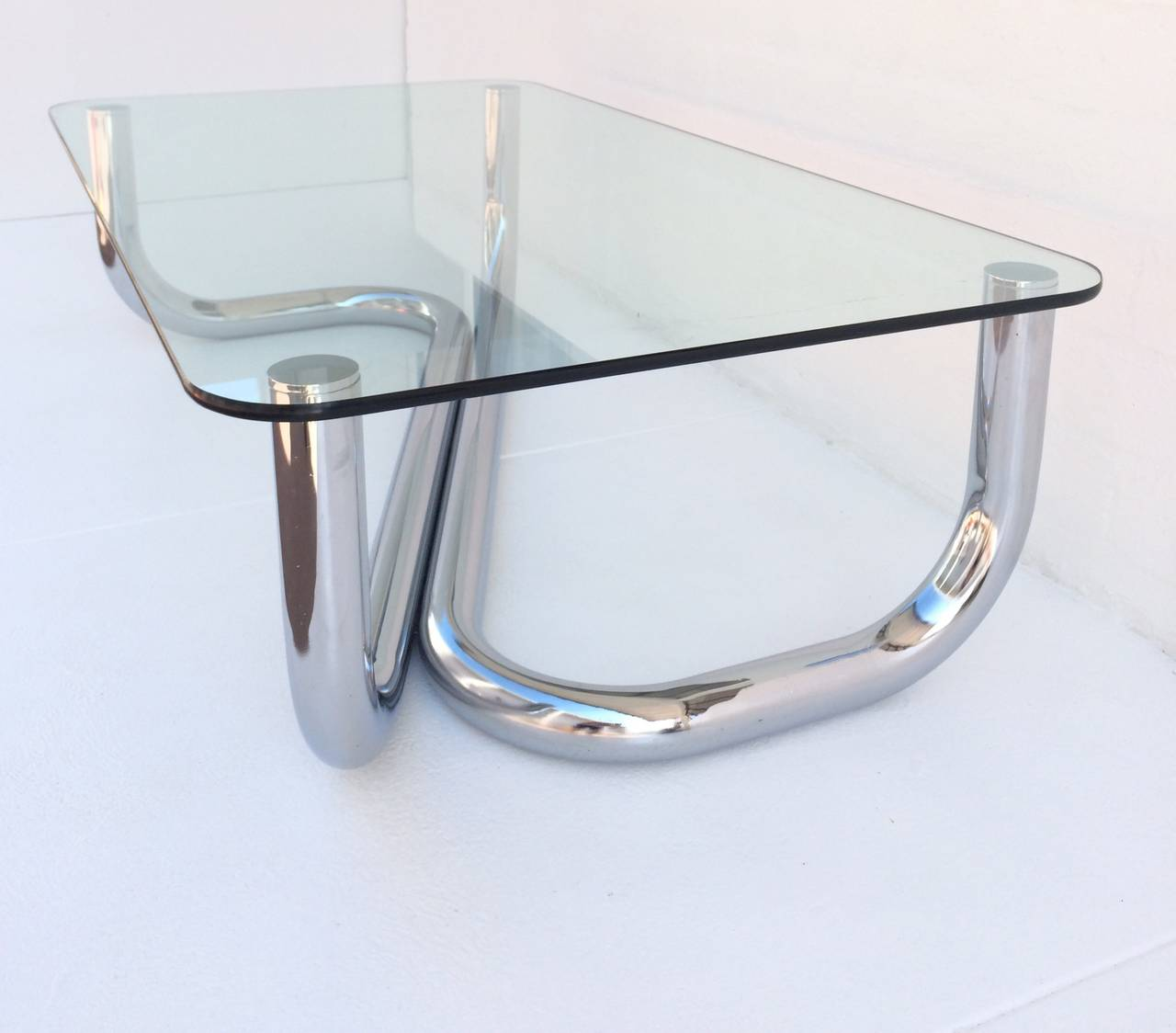 1960s Italian Polished Chrome And Glass Coffee Or Cocktail Table At 1stdibs