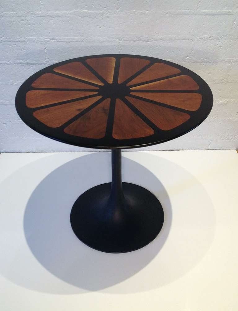 Burke Tulip Style Table With A Detailed Wood Top That Looks Like A Flower  And A
