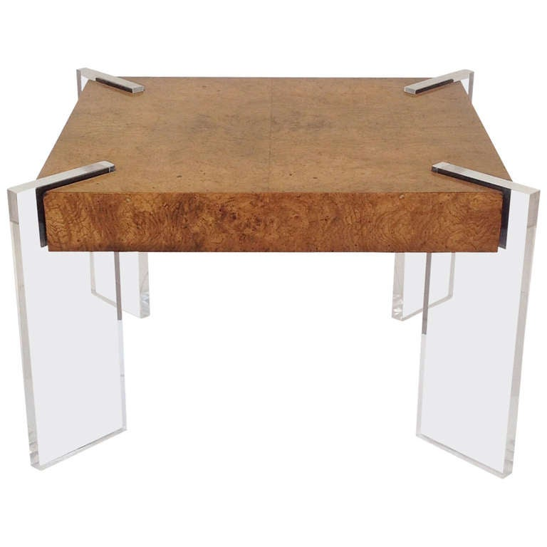 This Burl Wood and Acrylic Occasional Table designed by Valdimir Kagan ...