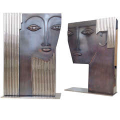 Pair of Large Polished Nickel and Bronze Man & Woman Sculptural Vases