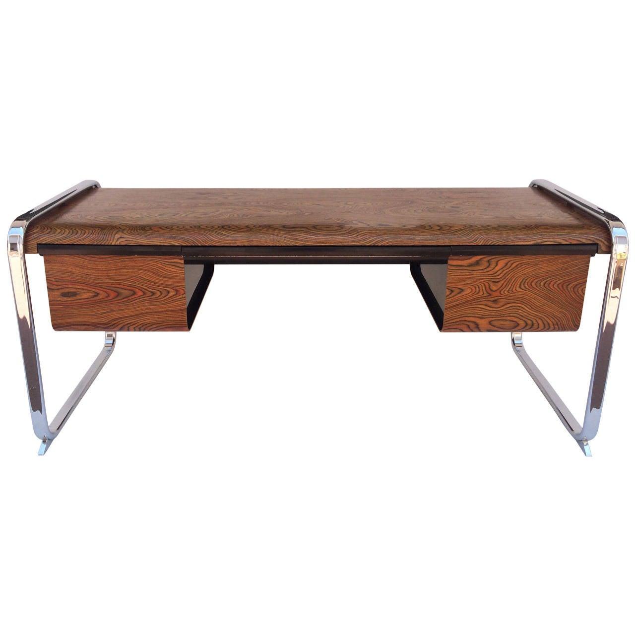 zebra wood and chrome deskpeter protzman for herman miller at