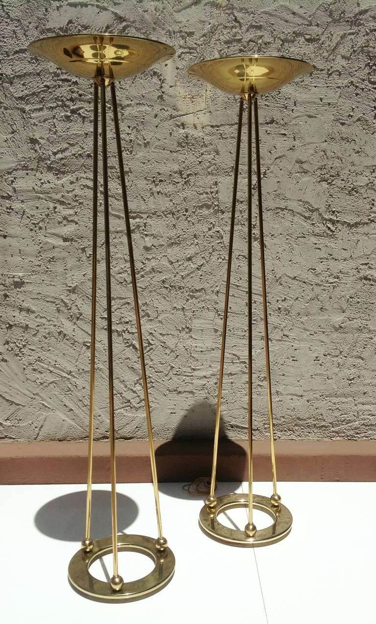 a pair of polished brass torchiere floor lamps by casella 2