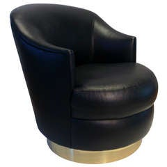 Karl Springer Rich Leather Swivel Chair