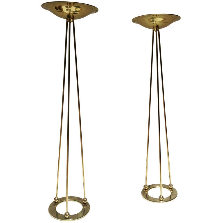 A pair of polished brass torchiere floor lamps by casella for Casella brass floor lamp
