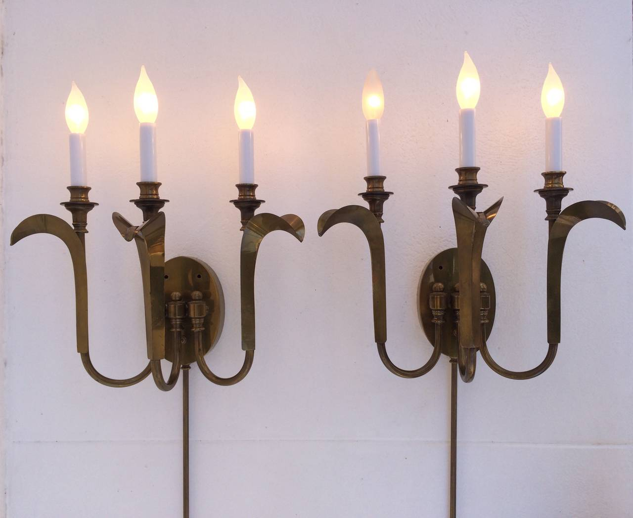 Aged Brass Wall Sconces : Pair of Aged Brass Wall Sconces by Hart Associates at 1stdibs