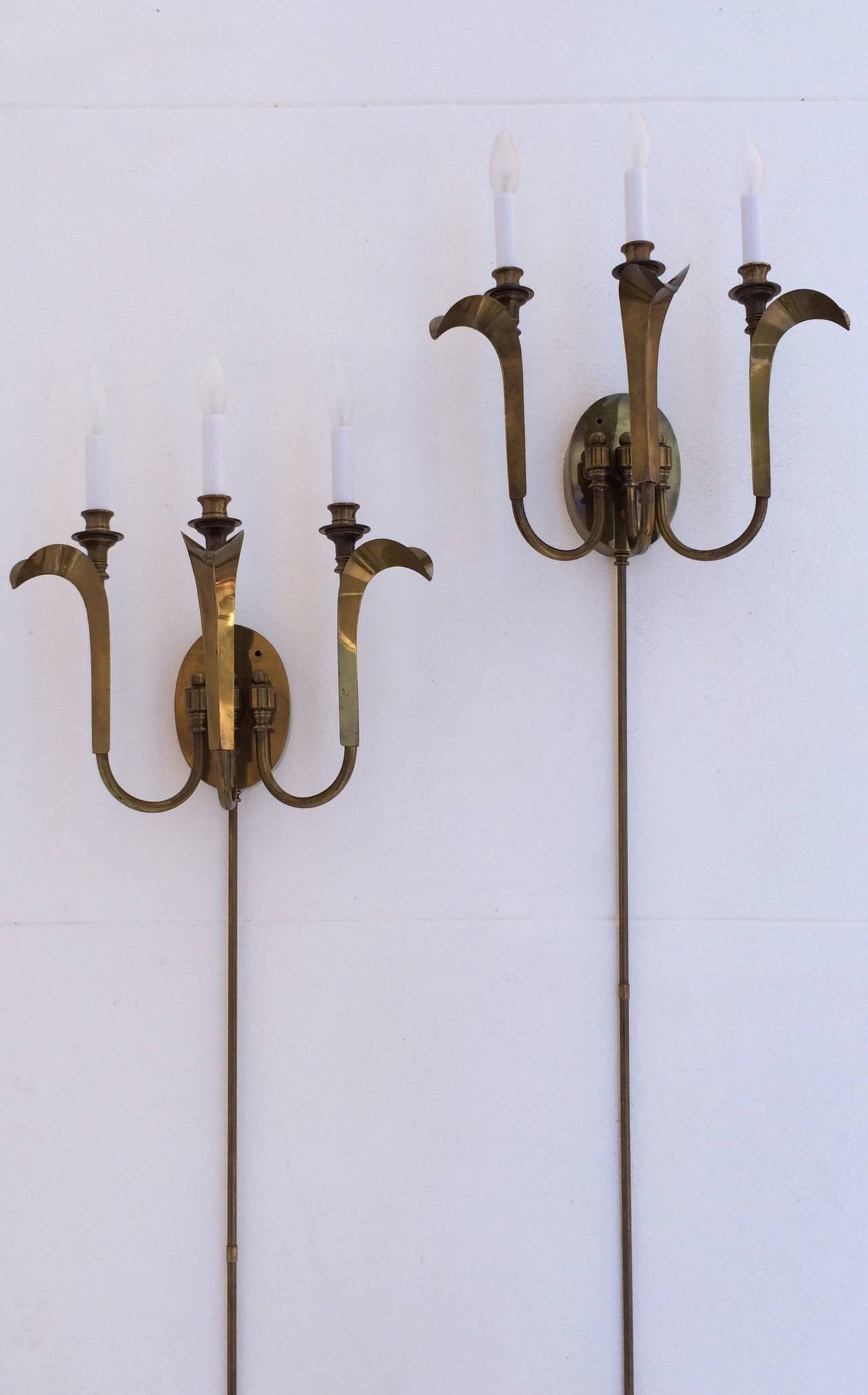 Pair of Aged Brass Wall Sconces by Hart Associates at 1stdibs