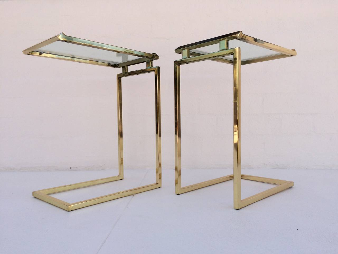 buy online eb4c3 07b08 Pair of Polished Brass and Glass Side Tables Designed by ...