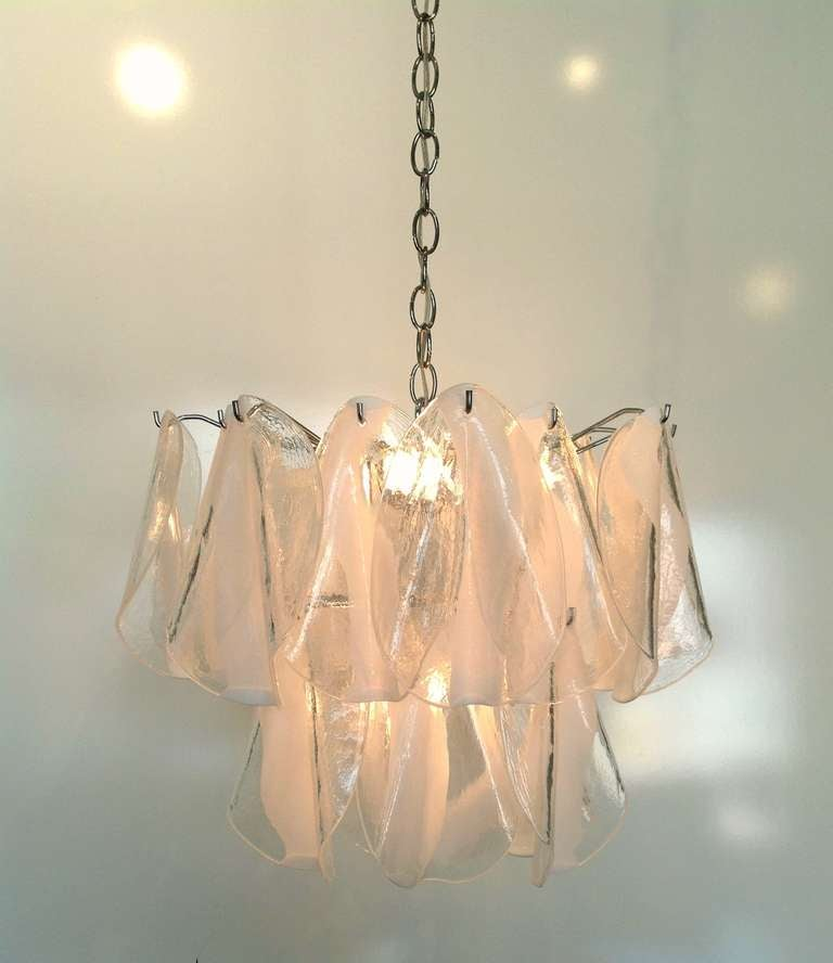Mazzega Murano Hand Blown White Feather Chandelier At 1stdibs