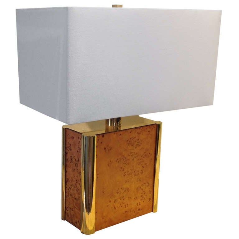 BurlWood and Brass Table Lamp designed by Milo Baughman For Sale