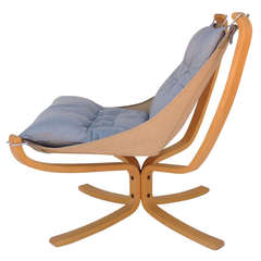 """""""Falcon Chair,"""" Maple Wood with Leather Cushion Designed by Sigurd Ressel"""