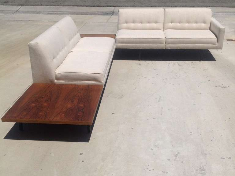George Nelson Modular Sofa With Built In Rosewood Side