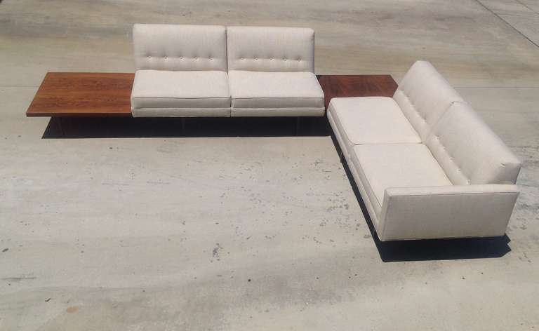 George Nelson Modular Sofa With BuiltIn Rosewood Side Tables At Stdibs - Sectional with built in table