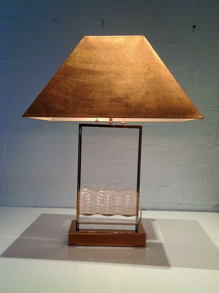 Acrylic And Copper Table Lamps Pair In The Style Of