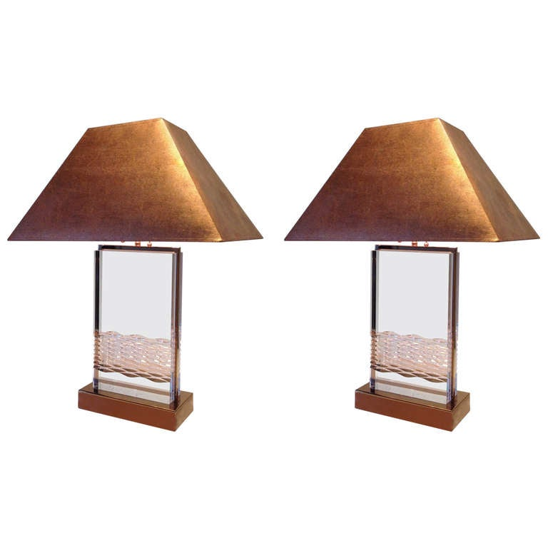Acrylic And Copper Table Lamps Pair In The Style Of Charles Hollis Jones At
