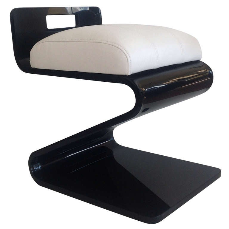 Black Acrylic Vanity Stool Designed By Gary Gutterman At