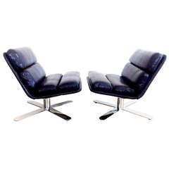 """Solo Chairs"" in Midnight Blue Faux Snakeskin, Designed by John Follis"