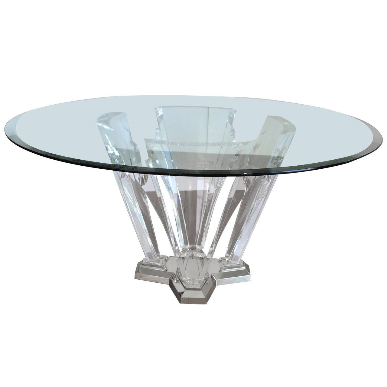 Acrylic and polished brass dining table by spectrum for Limited space dining table