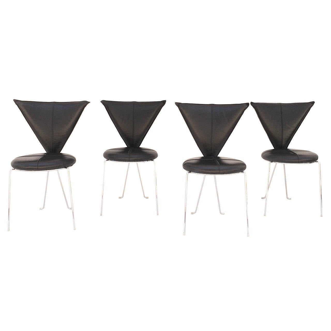 Rare Set of Four Black Leather and Chrome Chairs by Helmut Lubke & Co