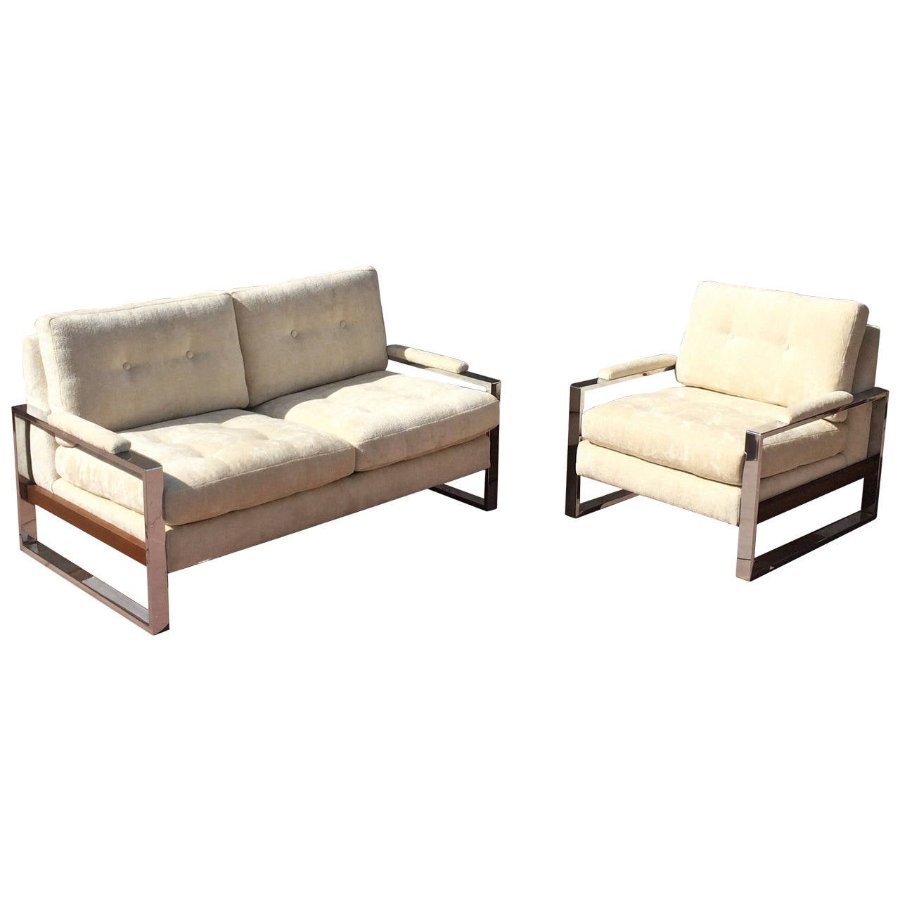 Loveseat and matching lounge chair by milo baughman at 1stdibs for Matching lounge furniture