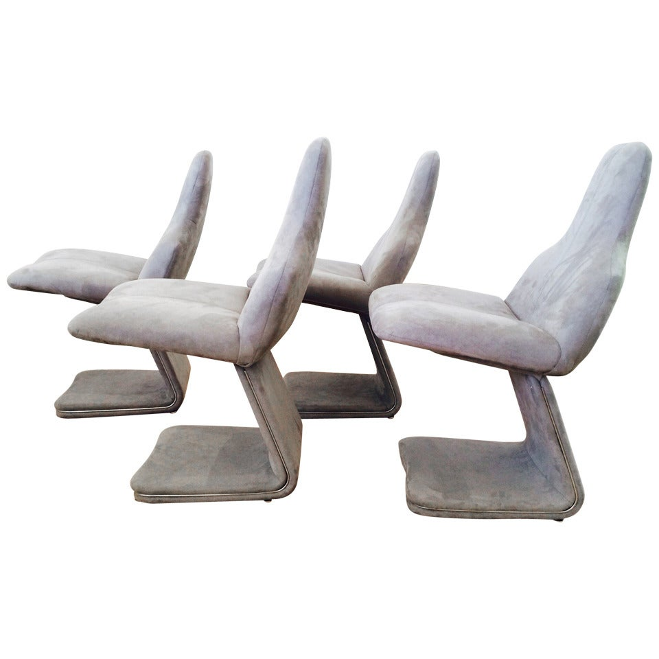 Set of Four Italian Dining Chairs Designed by Gastone Rinaldi for Rima