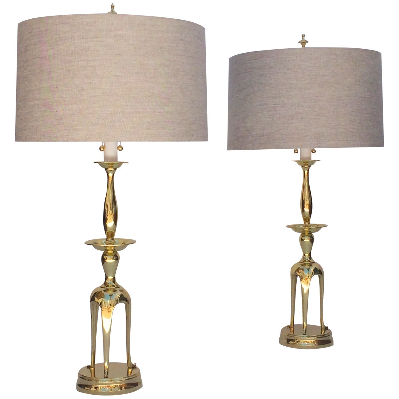 Pair of Polished Brass Chapman Lamps in the Manner of James Mont