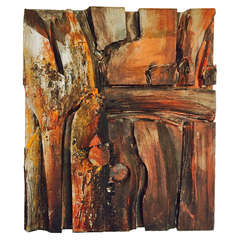 Wood Assemblage and Acrylic Wall Sculpture by Wayne Long