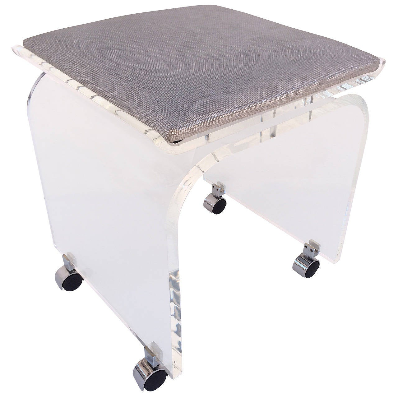 Waterfall acrylic vanity stool on wheels designed by charles hollis jones at 1stdibs - Vanity stool with wheels ...