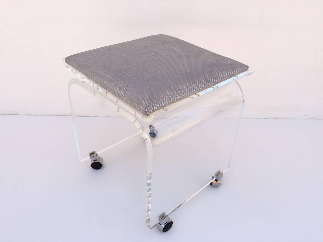 waterfall acrylic vanity stool on wheels designed by