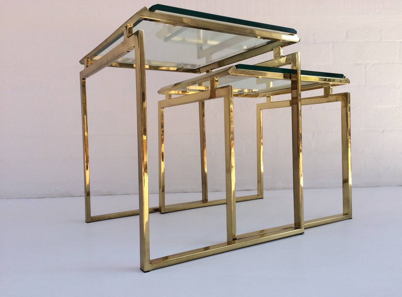 Polished Brass And Beveled Glass Nesting Tables Designed By Milo Baughman 2